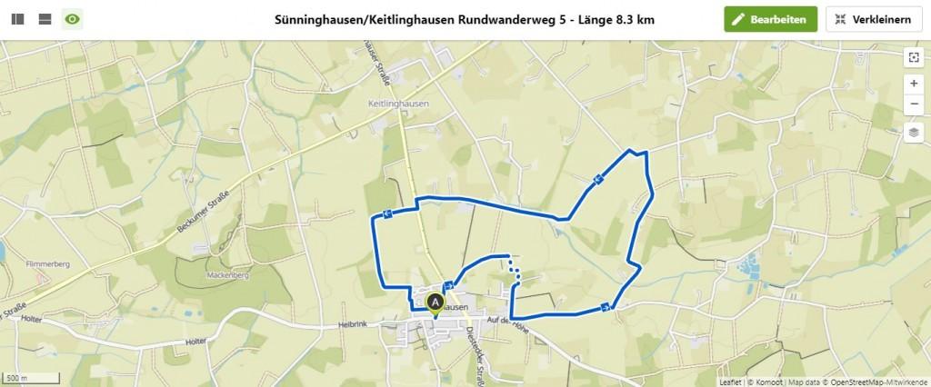 Sünninghausen-Keitlinghausen Rundwanderweg 5 - Länge 8.3 km